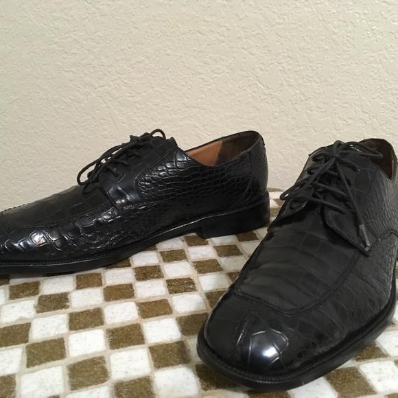 Black Mezlan Platinum Alligator Shoes 12 M Mezlan Alligator Shoes Discount